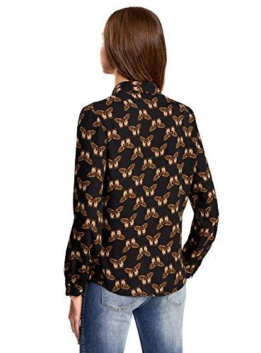 oodji Ultra Mujer Blusa Estampada de Gasa Negro (2935U)