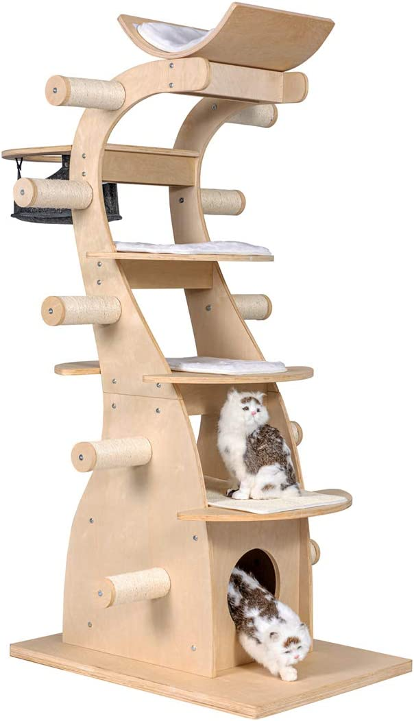 Good Life Deluxe Modern Design Cat Tree House with Scratching Post Tower Deluxe Solid Wood Furniture