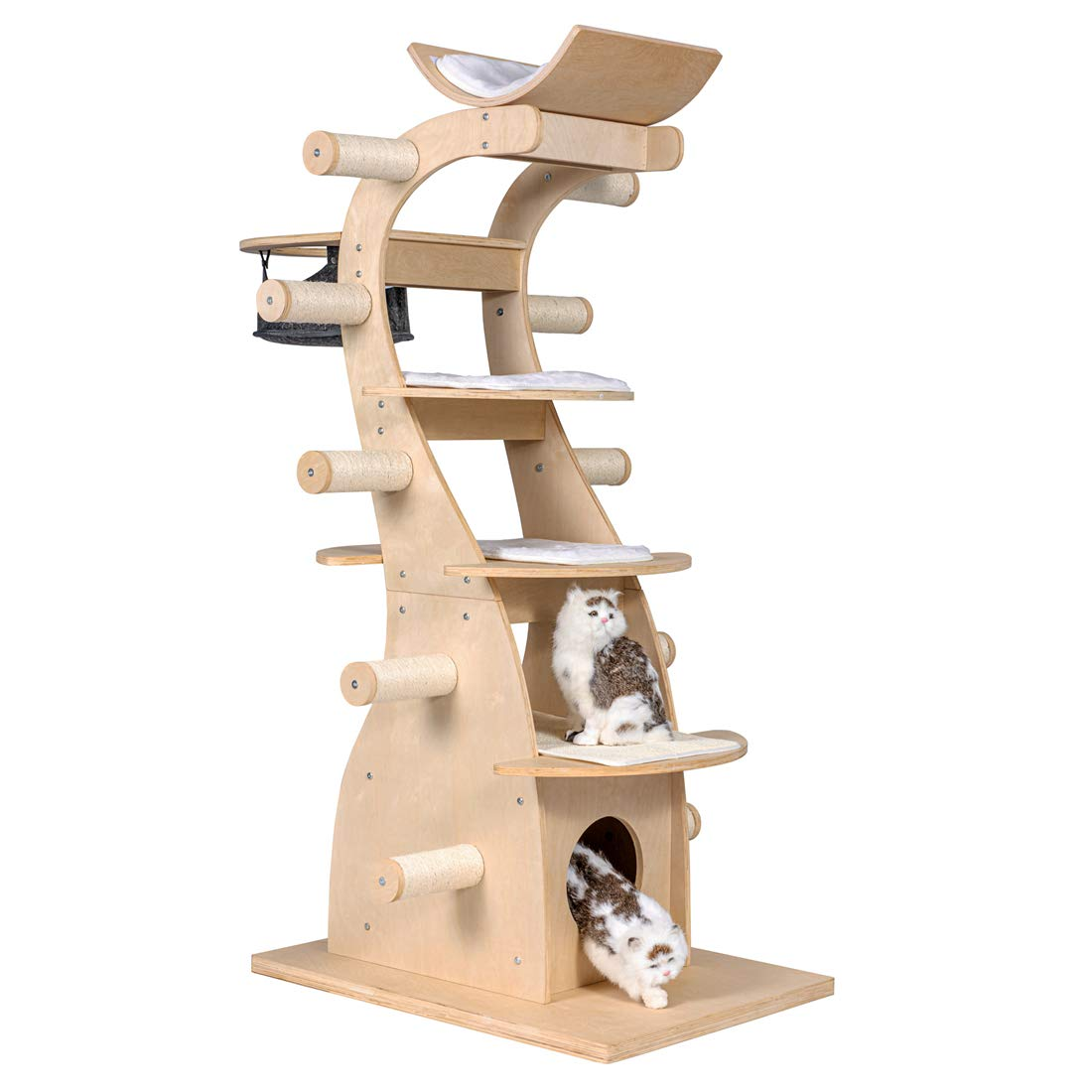 Good Life 63'' Modern Design Cat Tree House with Scratching Post Tower - Deluxe Solid Wood Indoor Furniture - 6 Floors Kitty Condo Climbing Play Center with Hammock Perch Cave and Ten Sisal Columns by GOOD LIFE USA
