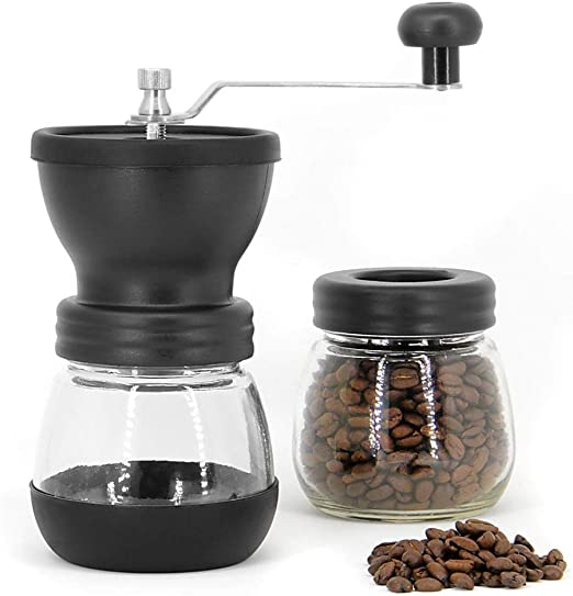 Manual Coffee Grinder With Ceramic Burr Glass Jar And Storage Lid Mill Mix SL