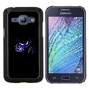 Azul flash Diablo- Metal de aluminio y de plástico duro Caja del teléfono - Negro - Samsung Galaxy J1 / J100