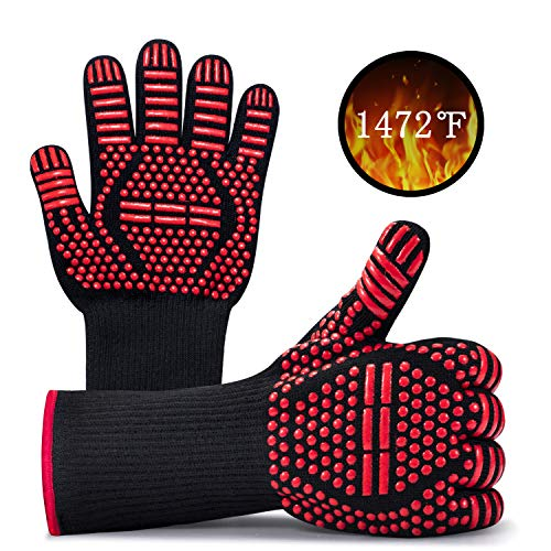 BBQ Gloves, Oven Gloves 1472℉ Heat Resistant Silicone Non-Slip Cooking Gloves, Protective Grill Mitts for Baking, Fireplace, Boiling, Welding and Frying, Durable Fireproof Tools, 1 Pair