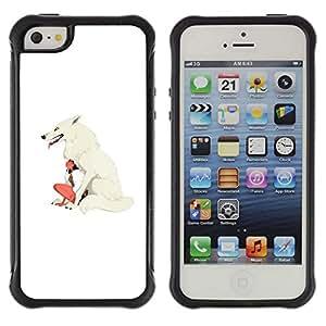 Be-Star único patrón Impacto Shock - Absorción y Anti-Arañazos Funda Carcasa Case Bumper Para Apple iPhone 5C ( Wolf Woman White Girl Indian Native )