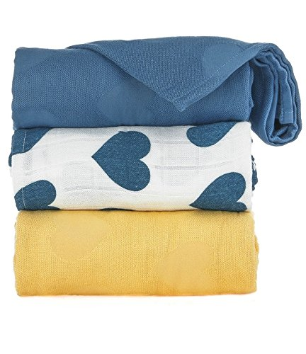 - Tula Baby Blanket Set, 3 Pack of 47x47 Inches, 100% Viscose from Bamboo Unisex Swaddle Blankets - Tula Love Soleil (Blue & Yellow Hearts, Blue, Yellow)