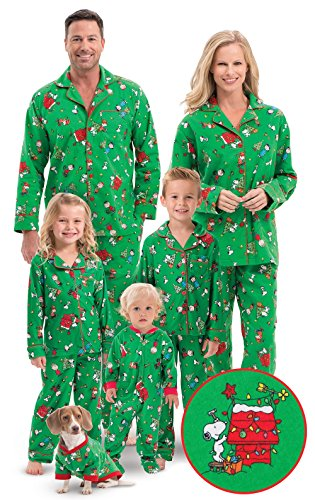 PajamaGram Family Christmas Pajamas Soft - Charlie Brown, Green, Kids, 8 ()