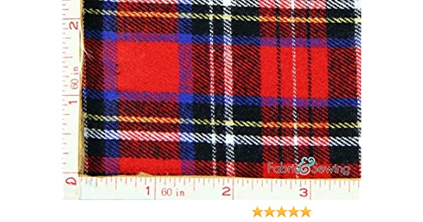 best website f59a5 986df Amazon.com  Red, Black, Royal Blue, Yellow and White Plaid Flannel Fabric  Cotton 7.5 Oz 58-60
