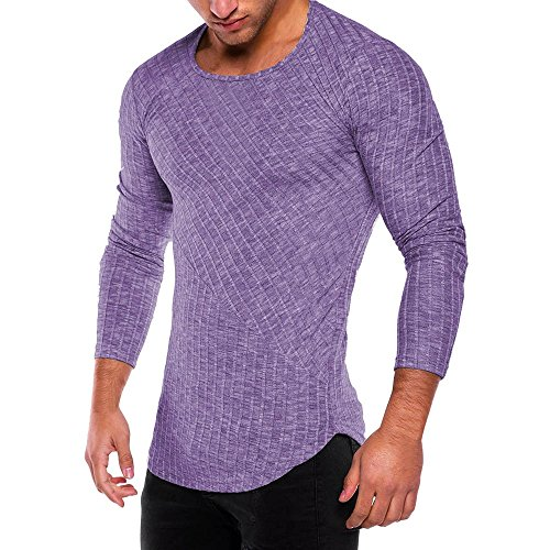 HGWXX7 Men's Fashion Solid O Neck Long Sleeve Muscle Tee T-Shirt Tops Blouse (M, Purple)]()