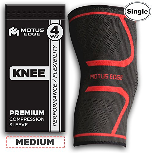 Motus Edge Extreme Athletic Knee Compression Sleeve for Running, Sports, Crossfit, Pain Relief, Rehab (1-Pack - Medium)