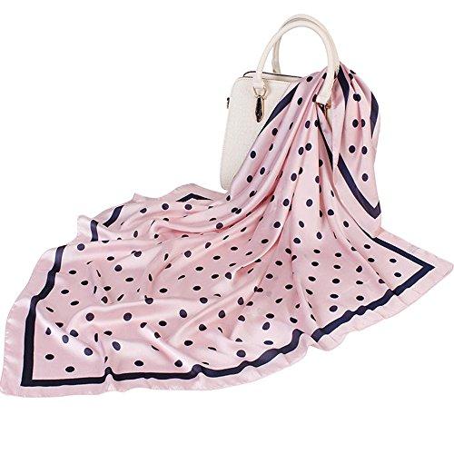 Print Silk Wrap - Satin Silk Scarf For Women Large Square Silk Scarves Print Wraps Head Scarf Hijab Luxury Brand (Pink)
