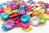 "ICRAFY 100 Assorted Daisy Flower Mulberry paper Rainbow Color , Die cut 100 Pcs. Size 1"" (Rainbow Tone)"