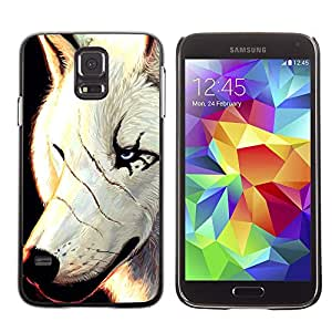 KOKO CASE / Samsung Galaxy S5 SM-G900 / white wolf scars face scarface blue eyes / Slim Black Plastic Case Cover Shell Armor