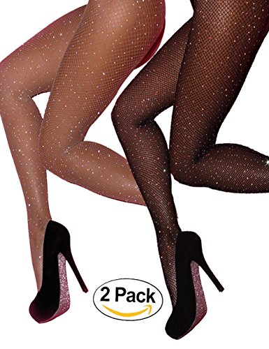 CHRLEISURE Women's Sparkle Rhinestone Fishnets Sexy Tights High Waist Stockings 2 Pack - Skinny Leg Tight