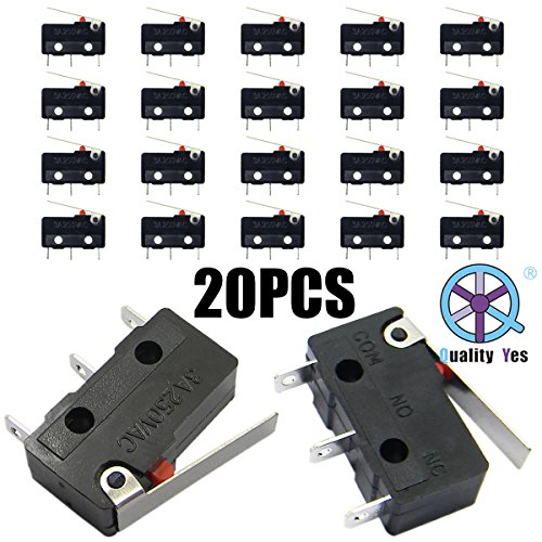 QY 20PCS Sub Micro Limit Switch Lever Arm SPDT Snap Action 5A 125 250VAC 3 Terminals Momentary Switch Action Terminal