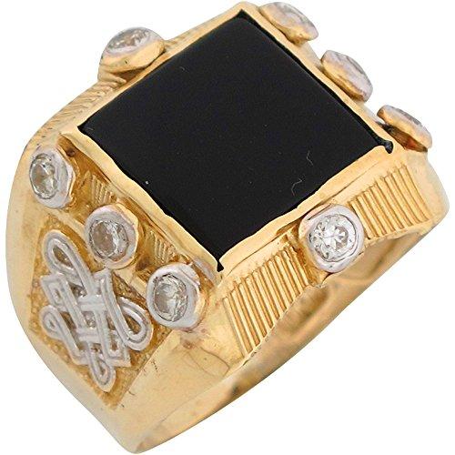 14k Two Tone Gold Onyx White CZ Bold Fancy Mens (White Gold Fancy Onyx)