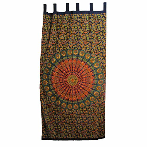 Indian Bohemian Mandala Floral Cotton Yoga Meditation Tab Top Panel Curtain Window (Tab Top Tapestry)