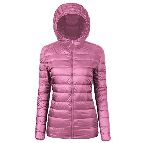 CIOR Women's Ultra-Lightweight Hooded Packable Down Puffer Jacket Coat With Travel Bag,CYRF01,01Pink,L
