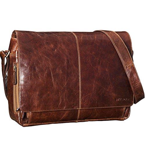 STILORD 'Alex' Vintage Bolso de Bandolera Mujer Hombres Piel 15.6 pulgadas Portatil Cuero Maletín cuero auténtico, Color:cognac - brillante marrón - antico