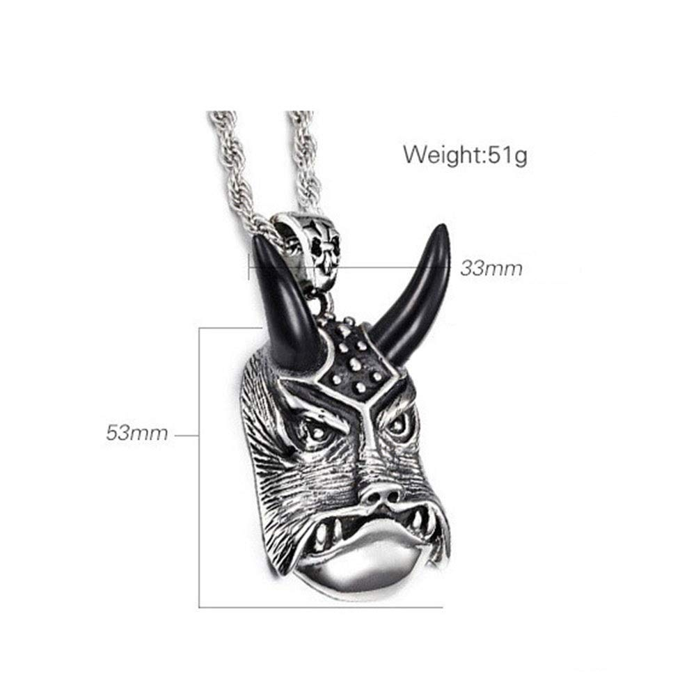 Jaiconfiance Mens Necklace Mens Stainless Steel Large Horn Pendant Silver Black Gothic Pendant DIY Jewelry /Birthday Gift Punk Design Color : Silver Black, Size : 5333MM