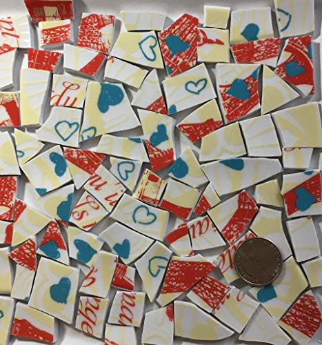 Mosaic Art and Craft Supply Red Yellow and Blue Heart China Tiles T 960