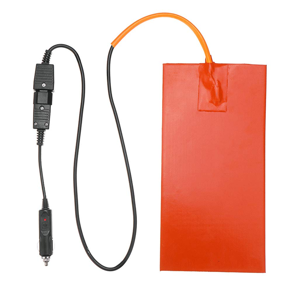 KUCY 152x304mm 12V 100W Pizza Hot Food Delivery Bag Silicone Heater Pad/Mat with 65C Thermostat