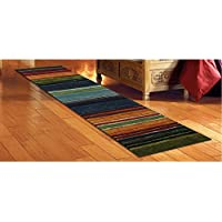 1 Piece Native Rainbow Striped Runner Rug, Multi Colored Hallway Entrance Way Tribal Colors Southwest Carpet Long Narrow, Skinny Black Blue Green Orange Purple Red Striped Flooring, Nylon, 2 Ft X 8 Ft