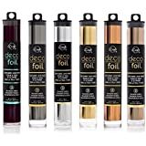 """Deco Foil - Transfer Sheets - Black, Pewter, Silver, Gold, Rose Gold, and Copper - Bundle of 6 """"Metal"""" Colors"""