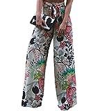 LOSRLY Women Floral Print High Waist Belt Palazzo Wide Leg Boho Pants Plus Size-Floral XL 16 18
