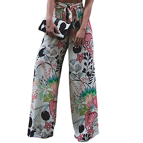 LOSRLY Women Floral Print High Waist Belt Palazzo Wide Leg Boho Pants Plus Size-Floral S 4 6