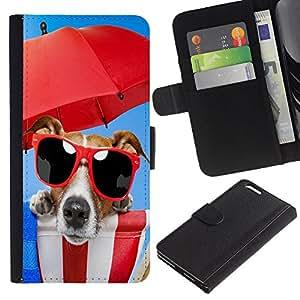 KLONGSHOP // Tirón de la caja Cartera de cuero con ranuras para tarjetas - Lindo Beach divertido gafas de sol para perros - Apple Iphone 6 PLUS 5.5 //