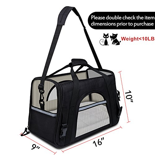 GDPETS Pet Carrier, Airline Approved Cat Carrier Bag Small& Medium Sized Animal, Soft-Sided Pet Travel Tote Fleece Bed, Portable Dog Carriers Hold Up to (10lbs) Fit Under Seats by GDPETS (Image #1)