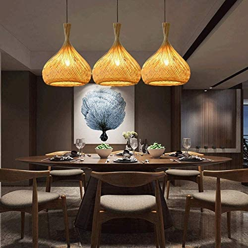 YUIOLIL Chandelier Ceiling Light,Pendant Lamp Shade Hand-Woven Bamboo Adjustable Height Rattan Hanging For Dining Room Bedroom,31Cm * 40Cm