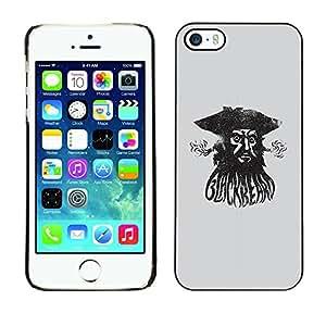 GOODTHINGS Funda Imagen Diseño Carcasa Tapa Trasera Negro Cover Skin Case para Apple Iphone 5 / 5S - mar pirata acuarela capitán negro