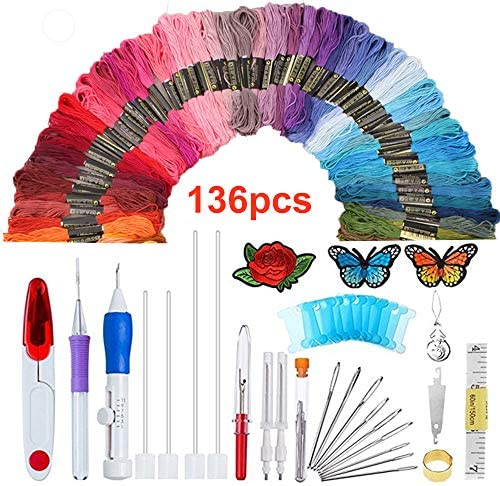Eugeneq Magic Embroidery Pen Punch Needle Felting Threader Set Wooden Handle Table Cloths Craft Tools DIY Sewing
