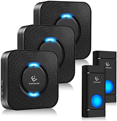 Wireless Doorbell ELEPOWSTAR Door Bells & Chimes Kit1000ft Long Range Waterproof Doorbell Chime5 Volume Levels (Mute Mode) 58 Melodies Chimes and LED Flash