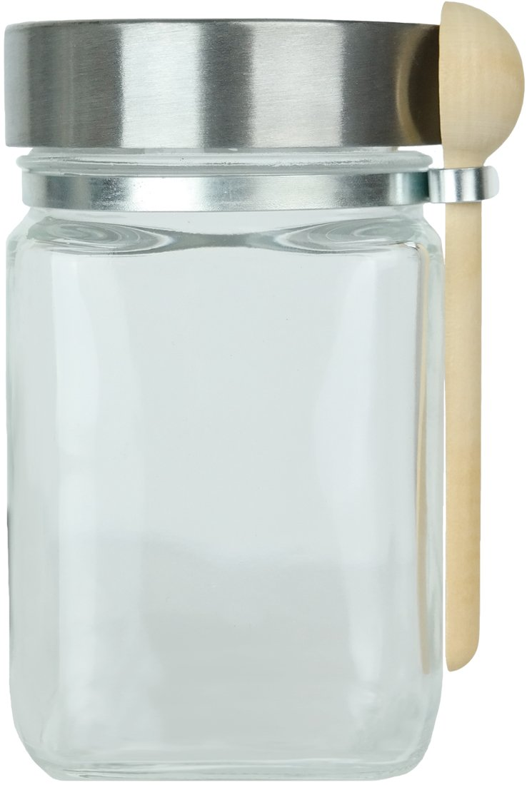 8 oz. Glass Jar with Spoon (Chrome Finish Screw-Top Lid) San Francisco Salt Company COMIN18JU087197