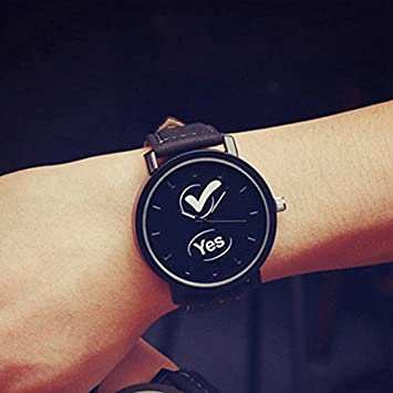 AiSmarter(TM) Black Lovers Couple Watches Women Men PU Leather Simple YES NO Watch