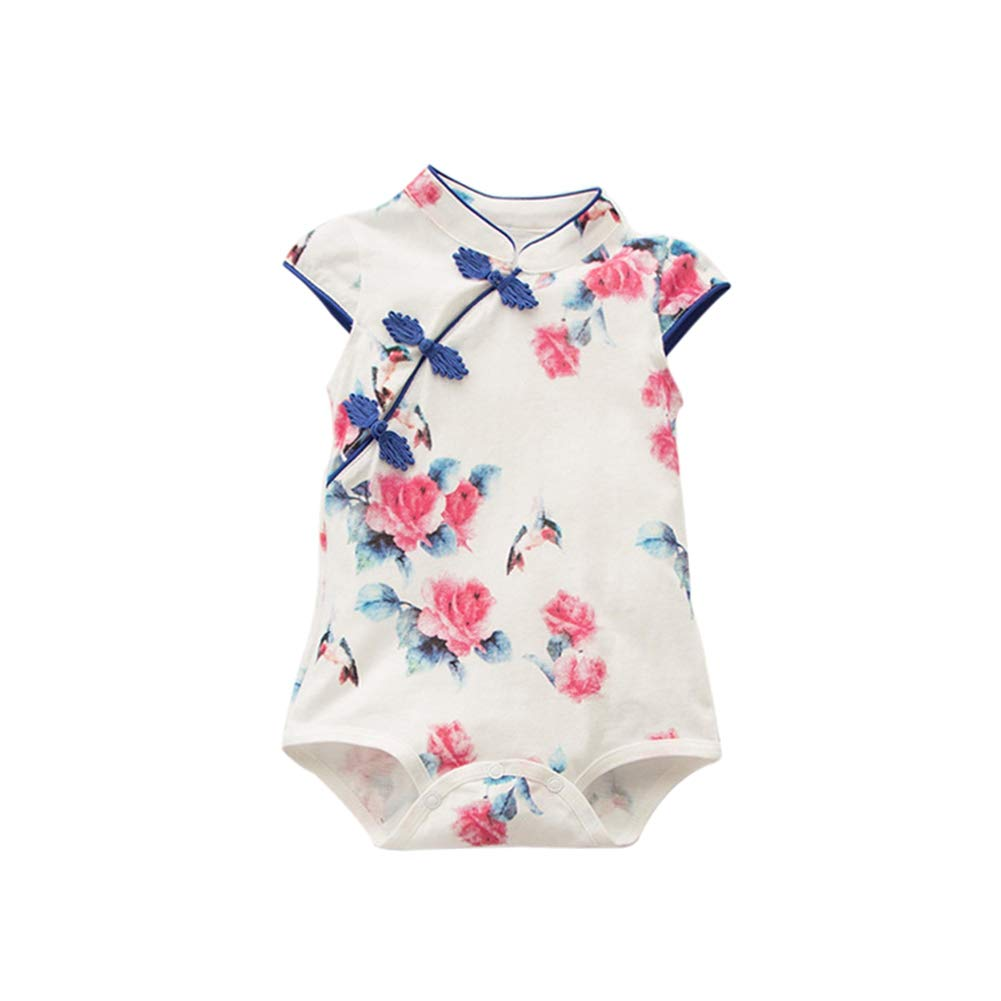 ESHOO Baby Girls Cheongsam Dress Short Sleeve Floral Qipao Romper Bodysuit Chinese Outfit