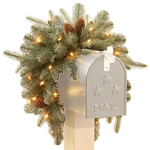 3-foot Frosted Arctic Spruce Mailbox Swag with Cones plus Reindeer and Santa's Sleigh with LED Lights Bundle Set by The National Tree Company (Image #1)