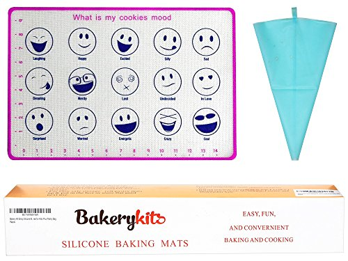 If you are the kind of person who enjoy cooking and love doing it with his kids, this Non-Stick Liner Silicone Baking mat emojis plus silicone pastry bag for macarons, cookies are just for you.