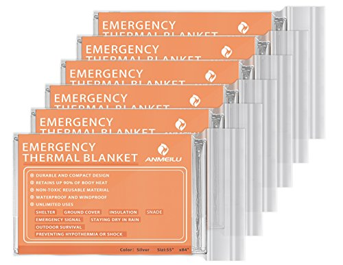 ANMEILU Emergency Mylar Thermal Blankets -Space Blanket Survival kit Camping Blanket (Pack of 6). Perfect for Outdoors, Hiking, Survival, Bug Out Bag ,Marathons or First Aid ()
