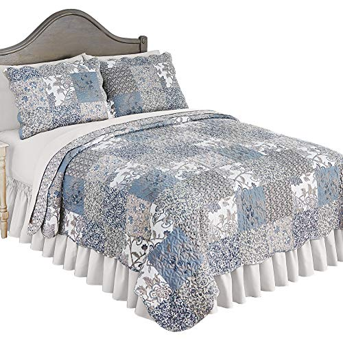 (Collections Etc Beautiful Reversible Alice Floral Patchwork Quilt Bedding with Scalloped Edges, Twin)