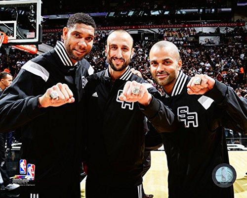 (NBA Tony Parker, Tim Duncan, Manu Ginobili San Antonio Spurs 2014 Champions Ring Photo (Size: 8