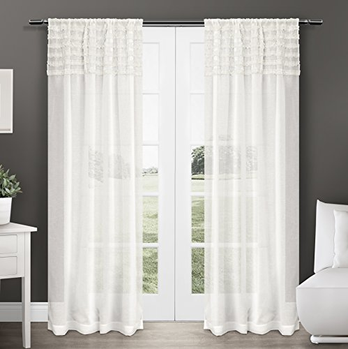 Exclusive Home Harta Rod Pocket Window Curtain Panels (Set of 2), 50 x 84″, Off White