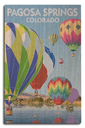 Pagosa Springs, Colorado - Hot Air Balloons Wood Wall Sign,