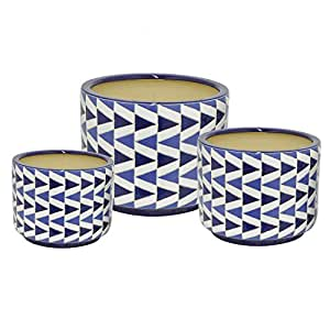 Three Hands Ceramic Planters 38276 Three Hands 38276 Ceramic Planter S/3 13 X 10 X 13 Inches Blue