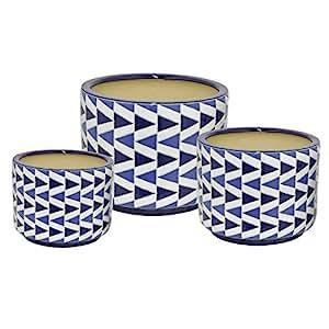Three Hands Ceramic Planters 38276 Three Hands 38276 Ceramic Planter S/3 13 X 10 X 13 Inches Blue