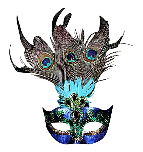 Maze Women's Fancy Colorful PVC Sequined Eye Mask With Large Peacock Feathers, 1- One -