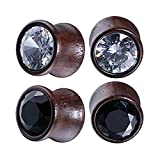 0g plug wood - BodyJ4You 4PC Crystal Jeweled Saddle Plugs Natural Wood Ear Gauges Tunnels Stretcher Set 0G (8mm)
