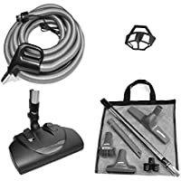 Central Vacuum Power Brush Cleaning Set Featuring a Wessel-Werk EBK-360 Power Nozzle, 35-foot Pigtail Corded Hose, Tool Set, in Black and Silver-Gray