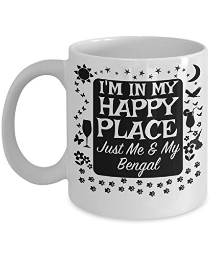 Bengal Cats Mug - In My Happy Place - Cat Breeder Lover Mom Dad Grandma Grandpa Gift - Family Pet Kitten Coffee Tea Cup -15oz (Best Bengal Cat Breeders)
